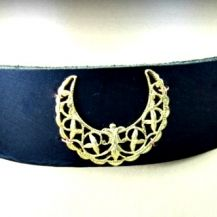 Filigree Crescent Black Leather Choker #filigree #crescent #wiccan #leatherchoker #artisan