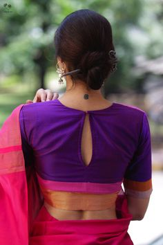 Shades of Purple and Pink Katori Blouse Sari Click Visit link above for more details Designer Saree Blouses, Cotton Saree Blouse Designs, Blouse Back Neck Designs, Fancy Blouse Designs, Blouse Patterns, Latest Blouse Designs, Stylish Blouse Design, Skirt Fashion, Fashion Blouses