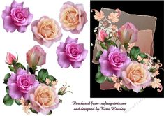This beautiful 3D decoupage card front is so very easy to make and can be used for any reason at all. Sad reasons happy  times just add your own greeting and done. It has beautiful pink roses  and babies breath, it looks really stunning when made up. enjoy