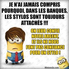 Read Banque from the story Citations de minions by (BookLover) with 485 reads. Funny Quotes, Funny Memes, Hilarious, Jokes, Minion Talk, Minion Humour, Geek Humor, Minions Quotes, Daily Memes
