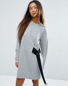 Платье-свитшот мини с ремешком и D-образным кольцом ASOS