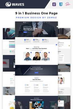 Waves - 9 in 1 #business  One Page #website  #template