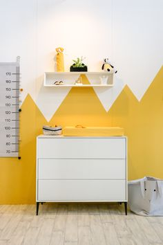 Baby room inspiration at the In de Wolken Festival. Cool paneling behind the . Yellow Playroom, Yellow Kids Rooms, Baby Bedroom, Baby Boy Rooms, Baby Room Decor, Yellow Bedding, Bedroom Yellow, Kids Bedroom Furniture, Wooden Furniture