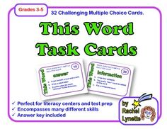 Word Analysis Task Cards: Vocabulary, Parts of Speech, Spe