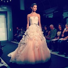 Kleinfield pink wedding dress | Pink wedding dress on the Mark Zunino runway at ... | Yes to the dr...