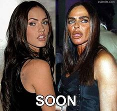 Megan Fox in a few years vorher nachher bilder Bad Plastic Surgeries, Plastic Surgery Gone Wrong, Megan Fox Surgery, Celebrity Plastic Surgery, Celebrities Before And After, Without Makeup, Actresses, People, Birthday Pranks