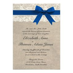 Ivory Lace Royal Blue Burlap Wedding Invitation Zazzle.com $2.05/per