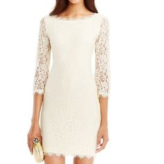 Diane Von Furstenberg zarita lace dress Beautiful and elegant DVF zarita lace dress in ivory. This dress is in perfect, like-new condition and was only worn once for 2 hours. Diane von Furstenberg Dresses Mini