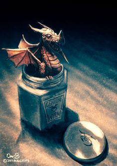 Genuine Wyrm (Dragon in Jar) by maugryph.deviantart.com on @DeviantArt