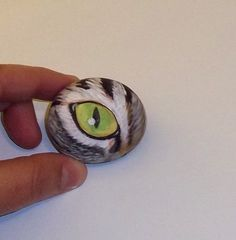 Original Hand Painted cat eye rock art stone by ROCKARTUSA,