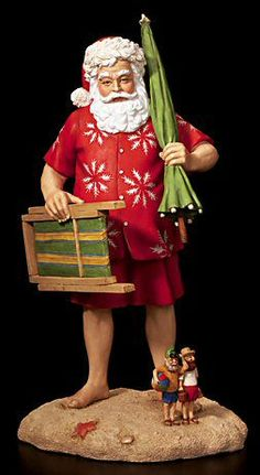 Sun Surf Santa - Santa Classics by Tom Browning. All figurines are hand painted, cold cast resin.