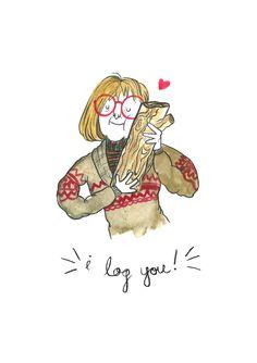 I Log You!- Card (Valentine, Anniversary card featuring Twin Peak's Log Lady)