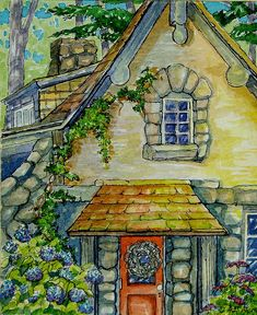 Hydrangeas by the Door Retro Storybook Cottage Series | Alida Akers