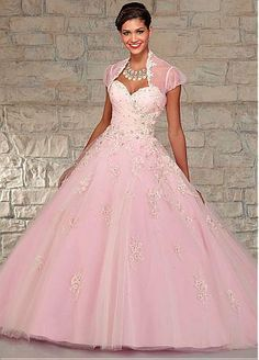 Chic Tulle Sweetheart Neckline Floor-length Ball Gown Quinceanera Dress With Detached Jacket