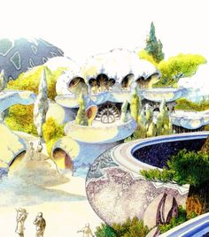 Sci-fi architecture painting by Roger Dean.