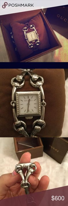 Gucci diamond horseshoe watch Rare Gucci watch with genuine diamonds on the face. This is a beautiful Gucci piece  super dainty and sophisticated, dresses up any outfit. Comes with an extra link as seen on the last picture. 6.5inches wrist size approx. comes with box, case, authenticity card and care booklet. **note needs a replacement closure snap. See pic 5*&7* for reference. Small easy fix. Macey's can replace for 60$ Gucci Accessories Watches