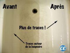 comment nettoyer la baignoire naturellement avec une solution moitié liquide vaisselle moitié  vinaigre blanc