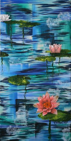 12x24 Original Acrylic Painting of Beautiful Textured Water Lily Flowers Floating on Abstract Water Reflections with Lily Pads by TheArtsieLassie on Etsy