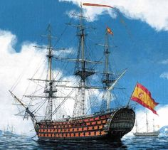 The largest ship built during the Napoleonic Wars. Damaged at Cape St Vincent, she was then engaged by HMS Terpsichore guns) but escaped. She later fought at Trafalgar. Bateau Pirate, Sailboat Art, Pirate Art, Ship Of The Line, Ship Paintings, Man Of War, Naval History, Wooden Ship, Tall Ships