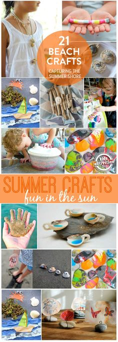21 fun beach crafts for kids beach vacation поделки, на пляж Beach Crafts For Kids, Beach Kids, Toddler Crafts, Summer Kids, Beach Fun, Art For Kids, Beach Games, Kids Crafts, New Crafts