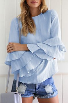Zanzea Women Spring Ladies Elegant Blouses Shirts O Neck Sleeve Solid Blusas Tops Casual Loose Pullover Plus Size Casual Tops, Casual Shirts, Loose Tops, Elegant Woman, Babe, Ruffle Blouse, Floral Blouse, Linen Blouse, Ruffle Top