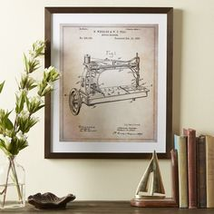 Birch Lane Sewing Machine Framed Blueprint