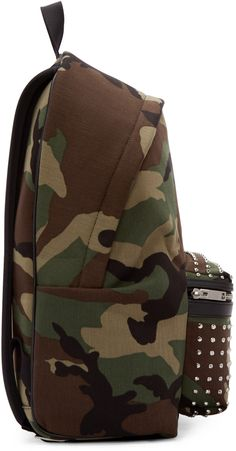 9521a0b91e11 Saint Laurent - Green   Brown Canvas Camouflage Backpack Camouflage Backpack