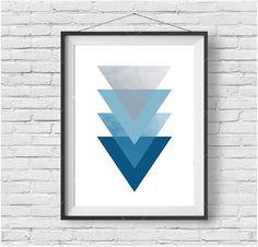 Blue Triangle Art, Geometric Poster, Simple Print, Digital Art, Blue Home Decor, Arrow Art, Blue Kids Art, Blue Nursery Print, Printable Art