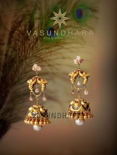 Gold Jhumkas by Vasundhara India Jewelry, Temple Jewellery, Indian Wedding Jewelry, Bridal Jewelry, Bridal Earrings, Drop Earrings, Diamond Jewelry, Silver Jewelry, Gold Earrings Designs