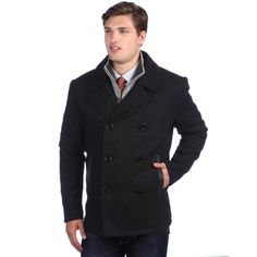 de857d11278d Ramonti Men s Black Wool-blend Double Breasted Pea Coat