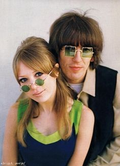 George Harrison and Patty Boyd wearing Granny Glasses, 1960's.