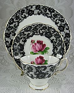 Royal Albert Cup And Saucer- Rose and Black Lace