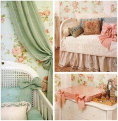 Luiza de Vestido: Quarto bebê menina: Cor-de-rosa, pérola e dourado. Papel de parede