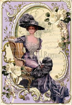 Victorian Harrison Fisher purple Large by CottageRoseGraphics, $3.75
