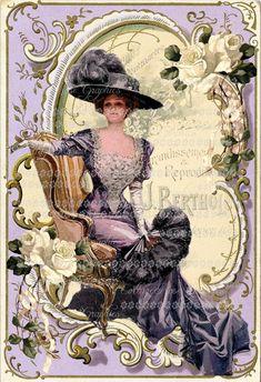 Victorian Harrison Fisher purple lavender by CottageRoseGraphics Decoupage Vintage, Decoupage Paper, Vintage Paper, Vintage Labels, Vintage Ephemera, Vintage Postcards, Scrapbooking Vintage, Collage Kunst, Etiquette Vintage