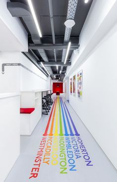 Emil Dervish Architect has designed the new language school and coworking space Underhub located in Kiev, Ukraine. The customers appealed to young architect with interesting challenge: to design functional and… Wayfinding Signage, Signage Design, Floor Signage, Coworking Space, Office Branding, Corporate Identity, Office Interior Design, Office Interiors, Stylish Interior