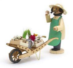 Gardener with Wheel Barrow German Christmas Incense Smoker Made in Germany New