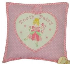 Tooth Fairy Pillow - Pink Polka Dots - 25 cms square