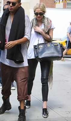 Ashlee Simpson wearing Hermes Birkin bag in Black Christian Louboutin Anita Pumps New York City July 30 2013