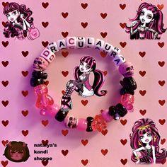 Diy Kandi Bracelets, Pony Bead Bracelets, Bracelet Crafts, Pony Beads, Kandi Patterns, Beading Patterns, Kandi Cuff, Homemade Jewelry, Monster High