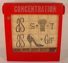 Vintage Milton Bradley Concentration Game with the puzzles on a roll.I remember having this game when I was a kid. It was also a game show on television in the Childhood Games, My Childhood Memories, Sweet Memories, 90s Childhood, 1960s Toys, Retro Toys, Vintage Toys, 1970s, Vintage Stuff