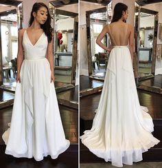 147 USD.White Chiffon Prom Dresses Long A-line Sleeveless Evening Dresses V Neck Formal Gowns Sexy Backless Party Pageant Dresses for Teens Girls