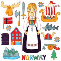 Norway House, Flag Drawing, Norway Flag, Christmas Lanterns, House Illustration, House Drawing, Scandinavian, Vintage Woman, Symbols