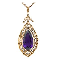 Large Amethyst, Natural Pearl & 18K Victorian Necklace | From a unique collection of vintage drop necklaces at http://www.1stdibs.com/jewelry/necklaces/drop-necklaces/