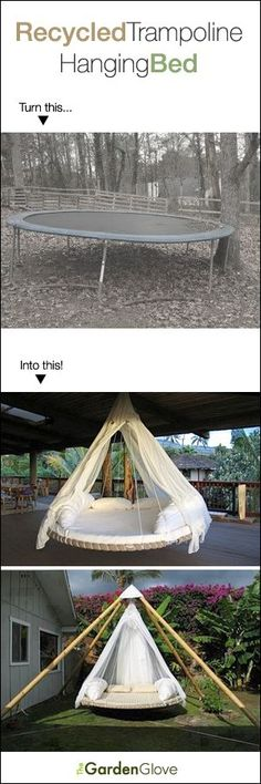 Recycled Trampoline Hanging Bed! • Definitely doing this with the old trampoline.