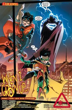 You can tell Lex Luthor was holding back since these were just 2 kids, but nonetheless it's impressive how Robin outsmarted him. Superboy was clueless on the whole thing but managed to hold himself well. From – Super Sons Dc Comics Heroes, Arte Dc Comics, Alexander Luthor, Super Sons, Demian Wayne, Batman Y Superman, Batman Robin, Naruto E Boruto, Dc Memes