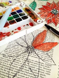 I do this for my art journal/altered book pages! paint over old book pages with water color Book Crafts, Crafts To Do, Arts And Crafts, Paper Crafts, Kids Crafts, Watercolor Books, Watercolor Paintings, Simple Watercolor, Watercolor Ideas