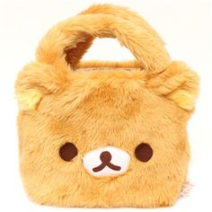 fluffy Rilakkuma brown bear plush handbag