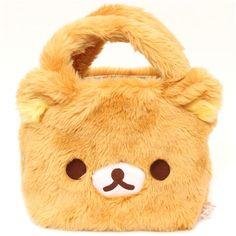fluffy Rilakkuma brown bear plush handbag