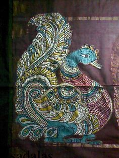 KALAMKARI peacock. Kalamkari uses vegetable dyes and neeeds running water. Has specific designs and conveys the cultural lores and legends of India
